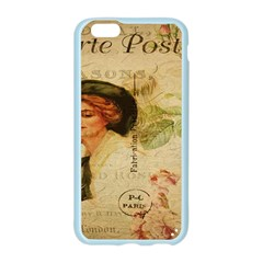 Lady On Vintage Postcard Vintage Floral French Postcard With Face Of Glamorous Woman Illustration Apple Seamless iPhone 6/6S Case (Color)