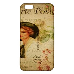 Lady On Vintage Postcard Vintage Floral French Postcard With Face Of Glamorous Woman Illustration iPhone 6 Plus/6S Plus TPU Case