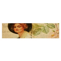 Lady On Vintage Postcard Vintage Floral French Postcard With Face Of Glamorous Woman Illustration Satin Scarf (Oblong)