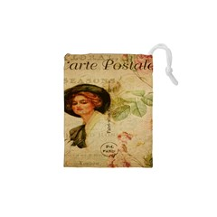 Lady On Vintage Postcard Vintage Floral French Postcard With Face Of Glamorous Woman Illustration Drawstring Pouches (xs)