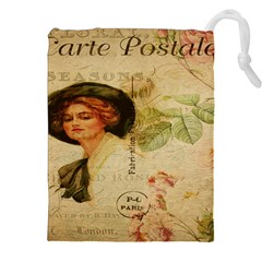 Lady On Vintage Postcard Vintage Floral French Postcard With Face Of Glamorous Woman Illustration Drawstring Pouches (xxl)