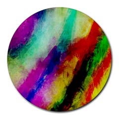 Colorful Abstract Paint Splats Background Round Mousepads
