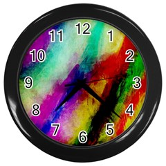 Colorful Abstract Paint Splats Background Wall Clocks (Black)
