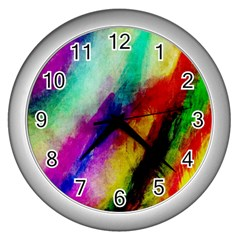 Colorful Abstract Paint Splats Background Wall Clocks (silver)