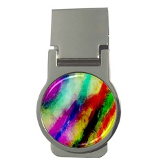 Colorful Abstract Paint Splats Background Money Clips (Round)