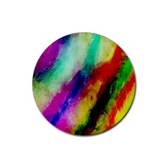 Colorful Abstract Paint Splats Background Rubber Coaster (Round)