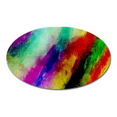 Colorful Abstract Paint Splats Background Oval Magnet
