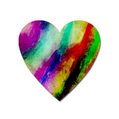 Colorful Abstract Paint Splats Background Heart Magnet