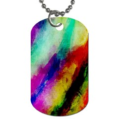 Colorful Abstract Paint Splats Background Dog Tag (one Side)