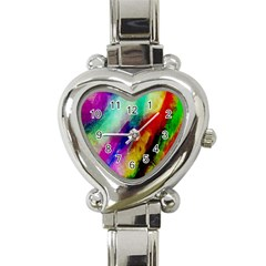 Colorful Abstract Paint Splats Background Heart Italian Charm Watch