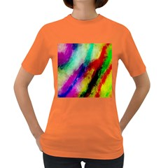 Colorful Abstract Paint Splats Background Women s Dark T Shirt