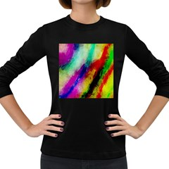 Colorful Abstract Paint Splats Background Women s Long Sleeve Dark T-Shirts