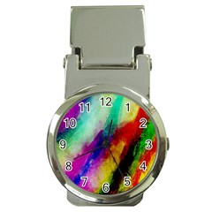 Colorful Abstract Paint Splats Background Money Clip Watches