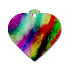 Colorful Abstract Paint Splats Background Dog Tag Heart (one Side)