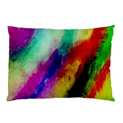 Colorful Abstract Paint Splats Background Pillow Case