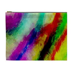 Colorful Abstract Paint Splats Background Cosmetic Bag (xl)