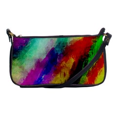 Colorful Abstract Paint Splats Background Shoulder Clutch Bags