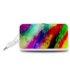 Colorful Abstract Paint Splats Background Portable Speaker (White)
