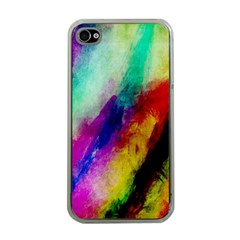 Colorful Abstract Paint Splats Background Apple Iphone 4 Case (clear)