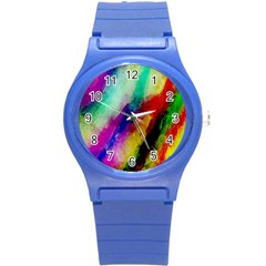 Colorful Abstract Paint Splats Background Round Plastic Sport Watch (s)