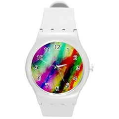 Colorful Abstract Paint Splats Background Round Plastic Sport Watch (M)
