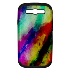 Colorful Abstract Paint Splats Background Samsung Galaxy S III Hardshell Case (PC+Silicone)