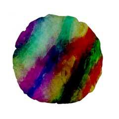 Colorful Abstract Paint Splats Background Standard 15  Premium Round Cushions