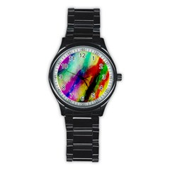 Colorful Abstract Paint Splats Background Stainless Steel Round Watch