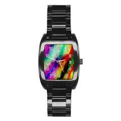 Colorful Abstract Paint Splats Background Stainless Steel Barrel Watch
