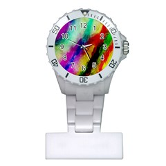 Colorful Abstract Paint Splats Background Plastic Nurses Watch
