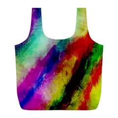 Colorful Abstract Paint Splats Background Full Print Recycle Bags (L)