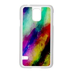 Colorful Abstract Paint Splats Background Samsung Galaxy S5 Case (White)