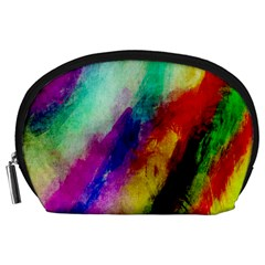 Colorful Abstract Paint Splats Background Accessory Pouches (large)