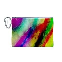 Colorful Abstract Paint Splats Background Canvas Cosmetic Bag (M)