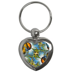 Random Fractal Background Image Key Chains (heart)