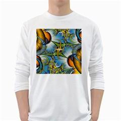 Random Fractal Background Image White Long Sleeve T-Shirts