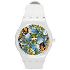 Random Fractal Background Image Round Plastic Sport Watch (M)