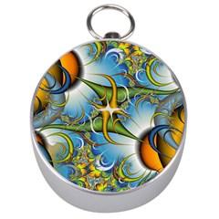 Random Fractal Background Image Silver Compasses