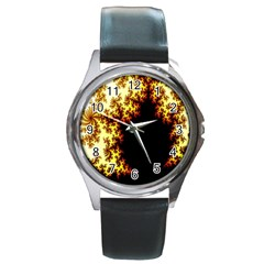 A Fractal Image Round Metal Watch