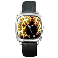 A Fractal Image Square Metal Watch