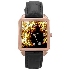 A Fractal Image Rose Gold Leather Watch