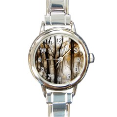 Fall Forest Artistic Background Round Italian Charm Watch