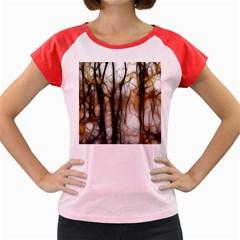 Fall Forest Artistic Background Women s Cap Sleeve T Shirt