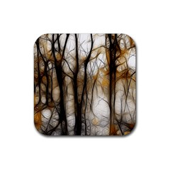 Fall Forest Artistic Background Rubber Square Coaster (4 pack)