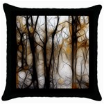 Fall Forest Artistic Background Throw Pillow Case (Black) Front