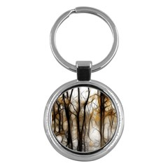 Fall Forest Artistic Background Key Chains (round)