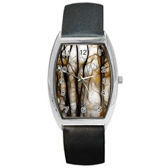 Fall Forest Artistic Background Barrel Style Metal Watch