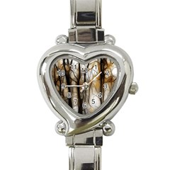 Fall Forest Artistic Background Heart Italian Charm Watch