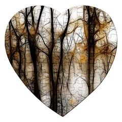 Fall Forest Artistic Background Jigsaw Puzzle (heart)