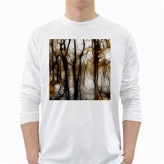 Fall Forest Artistic Background White Long Sleeve T Shirts
